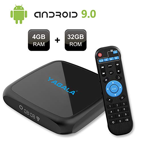 Android TV BOX, V3 Android 9.0 Smart Box con 4GB di RAM 32GB di ROM RK3318 Quad-core 64bit ARM Cortex-A53 CPU Penta-core Mali-450 GPU, supporta WiFi 2.4GHz/5GHz Dual Band WiFi 100M LAN UHD 4K H.265