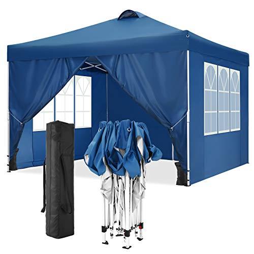 TOOLUCK Tonnelle Pliante 3x3m Tonnelle de Jardin Imperméable Tente Reception Pavillon de Jardin avec 4 Côtés, Sacs de Sable, Air Évents (3x3 M, Bleu)