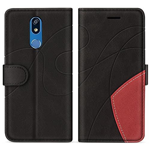 SUMIXON Hülle für LG K40 / LG K12 Plus, PU Leder Brieftasche Schutzhülle für LG K40 / LG K12 Plus, Kratzfestes Handyhülle mit Kartenfächern & Standfunktion, Schwarz