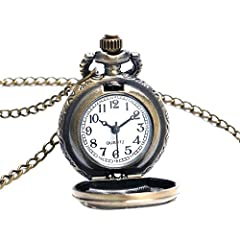 Vintage Chain Pocket Watch, Bronze Sun Flower Retro Roman Numerals Quartz Fob Pocket Watch With Necklace Chain Gift #2