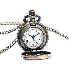 Vintage Chain Pocket Watch, Bronze Sun Flower Retro Roman Numerals Quartz Fob Pocket Watch With Necklace Chain Gift #2