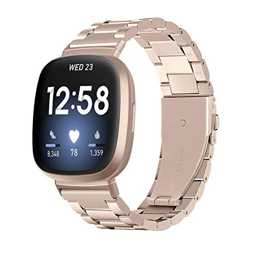 Diruite für Fitbit Versa 3/Fitbit Sense Armband Uhrenarmband,Galvanisieren Edelstahl Metall Mit Doppelt Faltschließe für Fitbit Versa 3/Fitbit Sense Ersatzarmbänder-Champagner Gold