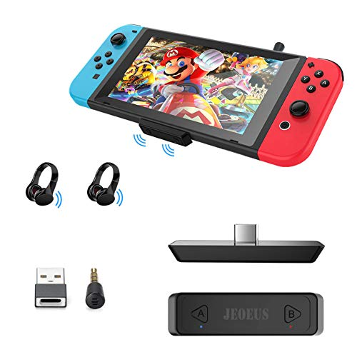 JEOEUS Bluetooth Adapter for Switch Lite/PS4/PS5/PC, Mic Supports in-Game Voice Chat, Switch Bluetooth Adapter with Low Latency Wireless Audio Adapter, for Bluetooth Headphone Speakers