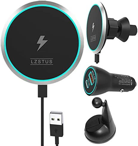 LZSTUS Fast Magnetic Wireless Charger Car USB Charger 15W Qi Wireless Charger Compatible with product image