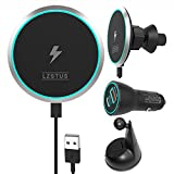 LZSTUS Fast Magnetic Wireless Charger Car USB Charger 15W Qi Wireless Charger Compatible with iPhone 12/12 Pro/SE /11/11 Pro/11Pro Max/XS/AirPods 2 with USB
