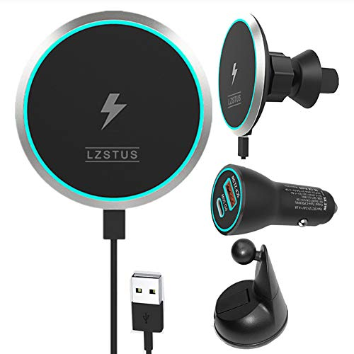 LZSTUS Fast Magnetic Wireless Charger Car USB Charger 15W Qi Wireless Charger Compatible with iPhone 12/12 Pro/SE /11/11 Pro/11Pro Max/XS/AirPods 2/Pro