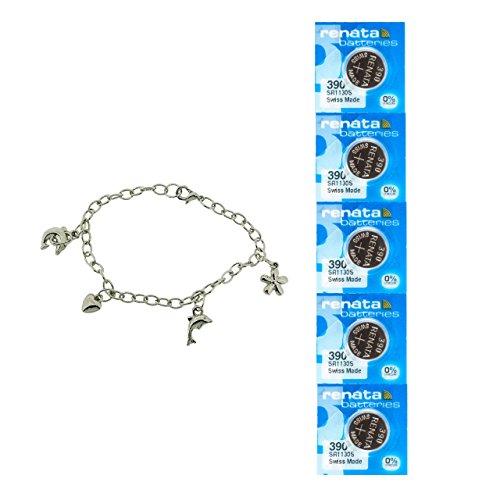 5X Renata 390 SR 1,55 V Silberoxyd Uhrenbatterie (SR1130SW) + GRATIS Geschenk TOC Charm Armband