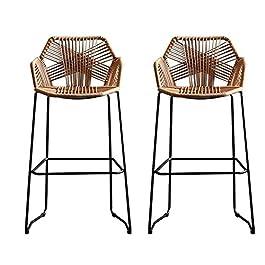 2pcs baie de bar chair de rotin fauteuil moderne design Art Art Cuisine Tabouret Petit déjeuner Bar Chaises hauteur…