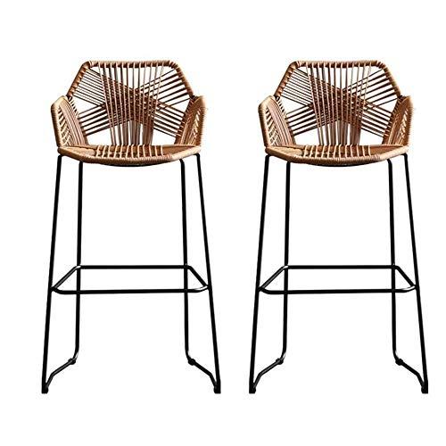 LAOHETLH Bar Chair Rattan Chair Bar Stool Wicker Chair with footrest bar Stool bar Stool Rattan for Kitchen Pub café Breakfast bar for Kitchen bar65/75cm (Color : 2 piece set, Size : 65cm)