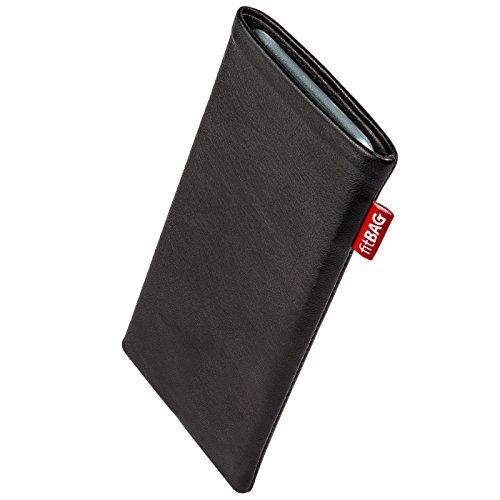 fitBAG Beat Schwarz Handytasche Tasche aus Echtleder Nappa mit Microfaserinnenfutter für Carbon 1 MKII | Hülle mit Reinigungsfunktion | Made in Germany