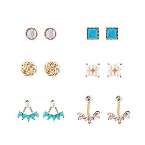 6 pares de aretes de perlas turquesas creativas pendientes retro con forma de lágrima para regalo