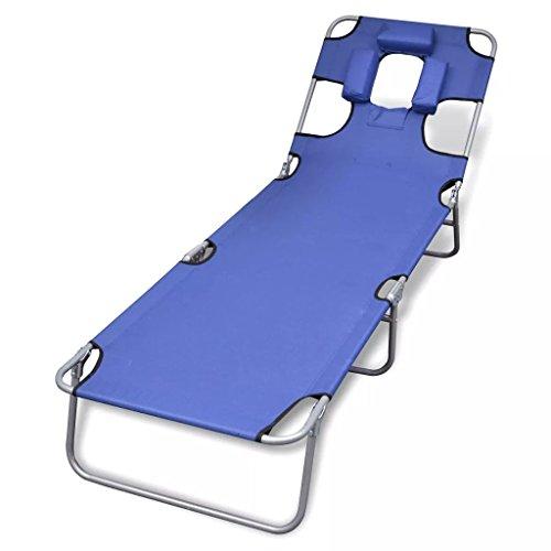 vidaXL Chaise Longue Pliable avec tête Coussin et Dossier Ajustable Bleu Bain de Soleil