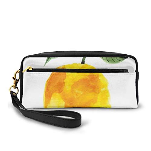 Pencil Case Pen Bag Pouch Stationary,Hand Drawn Lemon Watercolors Summer Organic Food Natural Product,Small Makeup Bag Coin Purse