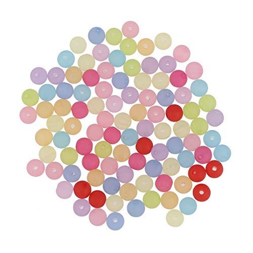 ifundom Cuentas acrílicas, 500 cuentas de vidrio esmerilado transparente de 6 mm de vidrio diminuto cristal redondo espaciador suelto cuentas al azar colores mezclados para joyería
