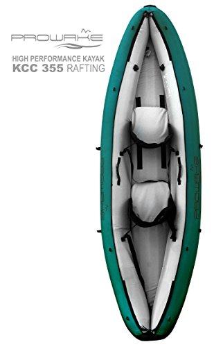 Prowake KCC-355 Rafting: hochwertiges Kajak mit Schalensitzen, herausnehmbaren Luftkammern und Lenzsystem, für 2 Personen (Outdoor-Grün)