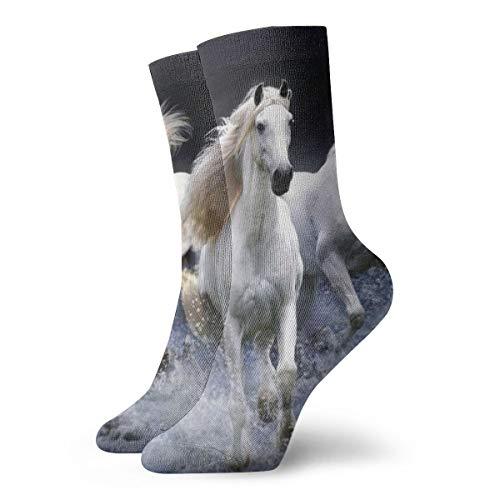 BJAMAJ Unisex Sokken Mooi Wit Paard Behang Interessant Polyester Crew Sokken Volwassene Sokken Katoen
