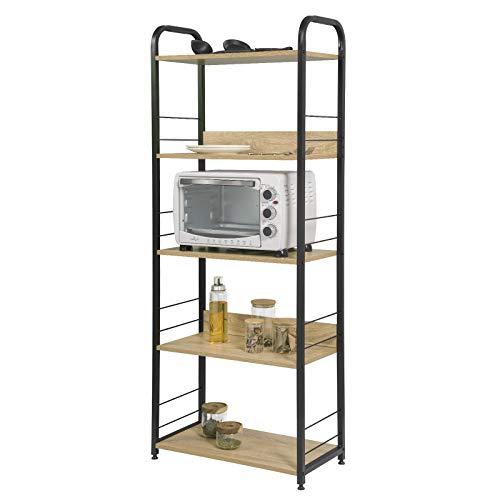 eSituro Estante de Cocina Estantería de Escalera Almacenamiento de Organizador Multifuncional para Microondas Libros Plantas con 5 Estantes Metal MDF Negro+Roble 60x30x152CM SSTR0066