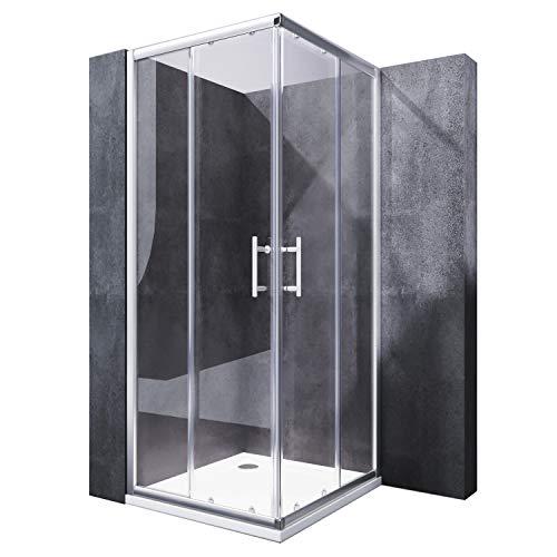 SONNI Duschkabine 80x80 cm Eckeinstieg Duschabtrennung mit Duschwanne Doppel Schiebetüren Echtglas Duschtür Sowohl auf Duschtassen als auch auf Fliesen installierbar