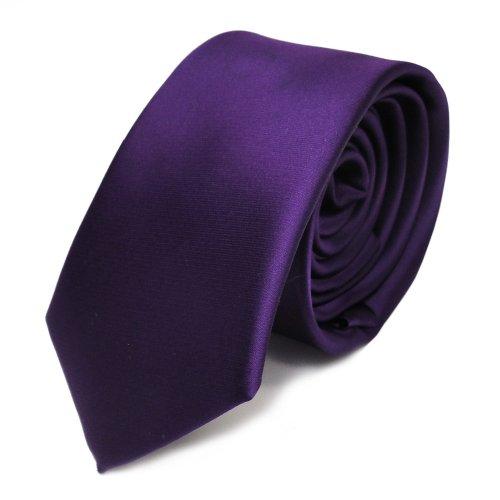 TigerTie schmale Satin Krawatte in dunkles lila violett einfarbig uni