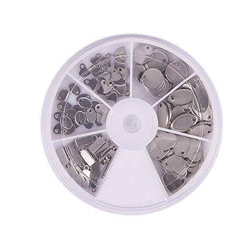 PandaHall Elite 1 Scatola 120PCS Ciondoli Pendenti in 304 in Acciaio Inox per Collana Bracciali Fai da Te, Forma Tag, Acciaio Inossidabile Colore, 6-13x4-10x0.5-1mm, Foro: 1-1.5mm