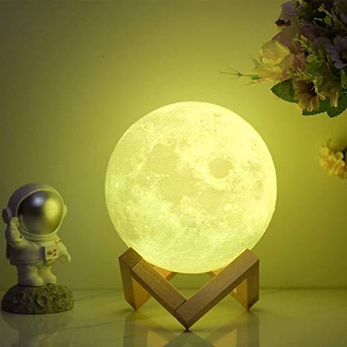Mondlampe, 3D-gedrucktes Nachtlicht (12 cm) Fernbedienung & Tap & Touch-Steuerung mit 16 RGB-Farben, 4 Wechselmodi, Dimmfunktion, Timer ┃ Mondlampen-Dekor Geschenke für Liebhaber Männer Frauen Kind