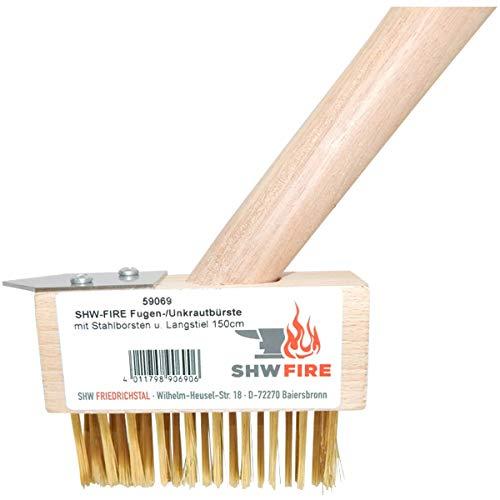 SHW-FIRE 59069 Fugenbürste Unkrautbürste Fugenreinigung mit Stahlborsten mit Stiel Holzstiel 150cm
