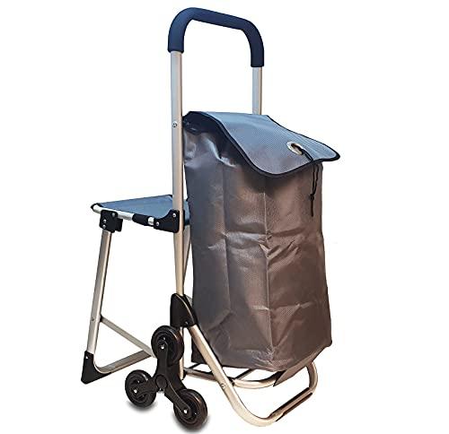 6in1 Einkaufstrolley Treppensteiger Einkaufsroller klappbare Einkaufswagen Faltbarer Einkaufsroller Kühltasche Stuhl Trolley Einkaufshilfe Einkaufskörbe & -Taschen (Silber)