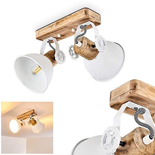 Deckenleuchte Orny, 2-flammig, mit verstellbaren Strahlern, Deckenlampe aus Metall/Holz in Weiß/Braun, 2 x E27-Fassung max. 60 Watt, Spot im Retro/Vintage Design, für LED Leuchtmittel geeignet