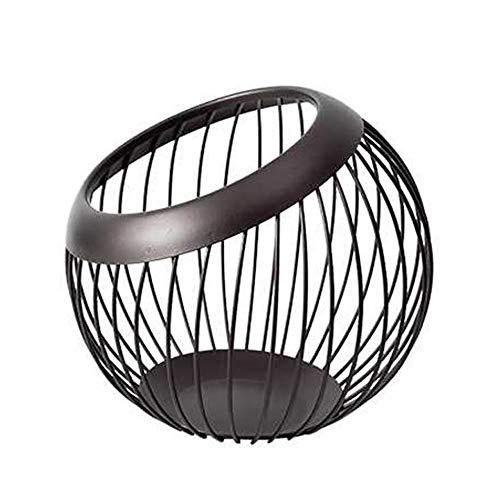 MYHZH Fruit Basket, Fruit Rond en métal, Oeufs, légumes et Pain de Stockage Bowl Porte-Support pour de Cuisine - 20 x 19 x 13 cm,Noir