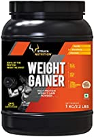 Strava Nutrition Weight Gainer with Whey protein, Ashwagandha extract and digestive enzymes (Strawberry Flavour) 1kg /...