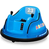 Kidzone 12V 2 Speed Bluetooth Music Kids Toy Electric Ride On Bumper Car 360 Spin Battle Vehicle with Remote Control, DIY Race# 00-99 and Alphabet Stickers, ASTM-Certified, Blue