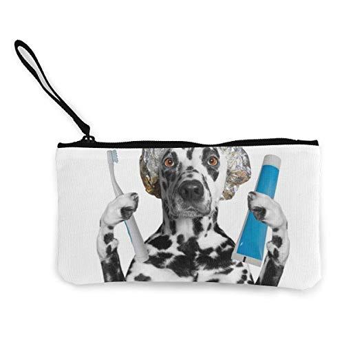 Dalmatiner Holding Zahnpasta Toothb Canvas Geldbörse Wechselgeldbeutel Reißverschluss Kleine Geldbörse Brieftaschen 4,5 x 8,5 Zoll mit Reißverschluss Brieftasche