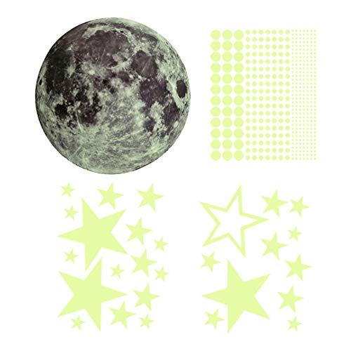 Garneck 435 stuks licht op in donkere sterren, zelfklevend, lichtpunten, maan, plafondlamp, zelfklevend, fluorescerend (1 maan, 27 stuks)