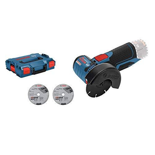 Bosch Professional GWS 12V-76 - Amoladora angular a batería 12V, 19500 rpm, disco 76 mm, 3 discos, sin batería, en L-BOXX