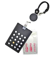 パスケース ICカード 牛革 PP樹脂製 プラスチック ハードケース リール付 定期入れ メンズ レディース 2枚組 ブラック