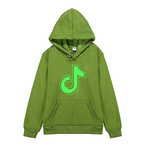 YRYBZ TIK Tok Boy Sudadera con capucha de Algodón Top para Niños con Bolsillo, Impresión Noctilucente y Suéter de Terciopelo/green/S