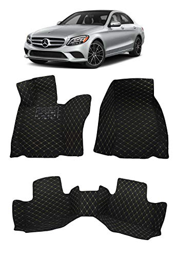 Custom Fit All Weather Heavy Duty Full Coverage Floor Mat Floor Protection [Front and Rear] for 2015 2016 2017 2018 2019 2020 Mercedes Benz C Class C300 4 Matic Sedan - Black Single Layer