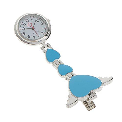 Krankenschwesteruhr - Schwesternuhr - Pflegeruhr - aus Metall - Herz Ketten - Medizinische FOB-Uhr - Taschenuhr - Ketteuhr (Blau)