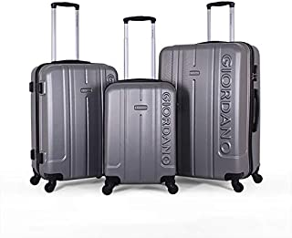 Giordano Luggage Trolley Bags Set, 3 Pcs With 4 Wheel, Silver - 826382