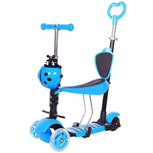 SZNWJ ygqtbc Vespa de Tres-en-uno for niños - Vespa Plegable for niños con Kick Asientos de Altura Ajustable y Plegable Scooters iluminación Ruedas Scooter (Color : C)