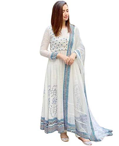 M R Jaipuri Kurti Designer Anarkali Kurti with Dupatta Set for Women and Girls Printed Cotton Long Anarkali Kurta Dupatta Set (M) White