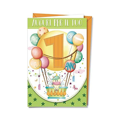 Partycolare Biglietto Auguri 1 Compleanno Fantasia Unicorno