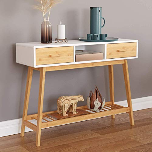 HOMECHO 39.4' Console Table, Sofa Table with 2 Drawers, Modern Entryway Table with Solid Bamboo Frame and Storage Shelf, Narrow Foyer Table Behind Couch for Living Room Hallway Entry, White