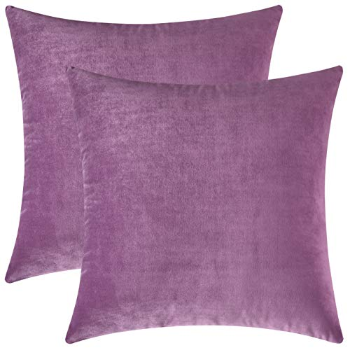 Mixhug Set of 2 Cozy Velvet Square Decorative Throw Pillow Covers for Couch and Bed, Lilac, 18 x 18 Inches