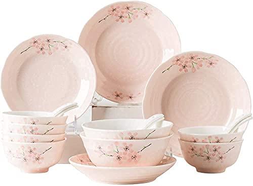 Juego de vajilla para cocina y comedor, juego de platos de cerámica, juego de vajilla de porcelana japonesa con flor de cerezo de 18 piezas con cuchara y plato, servicio para 3-6, gran regalo para ami