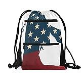 Draw String Sport Yoga Gym Bag, Drawstring Backpack for Men Women, Drawstring Bag Cute Soldier Silhouette Saluting The USA Flag