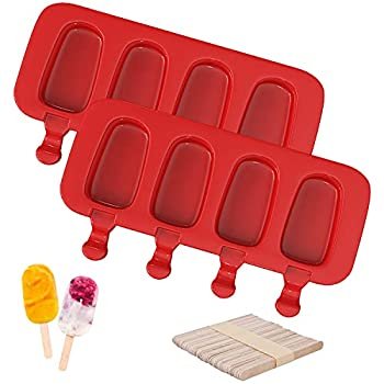 Ouddy Popsicle Molds Set of 2 Ice Cream Mold 4 Cavities Ice Pop Molds Silicone Cake Pop Mold Oval with 50 Wooden Sticks for DIY Ice Cream - Red