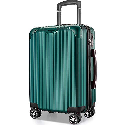 VARNIC スーツケース キャリーバッグ キャリーケース 機内持込 超軽量 大型 静音 ダブルキャスター 耐衝撃 360度回転 TSAローク搭載 ファスナー式 旅行 ビジネス 出張 人気色【永久保証】(7色3サイズ対応) (L サイズ(98L), 緑)