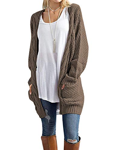 GRECERELLE Women's Loose Open Front Long Sleeve Solid Color Knit Cardigans Sweater Blouses with Packets Dark Khaki-Large