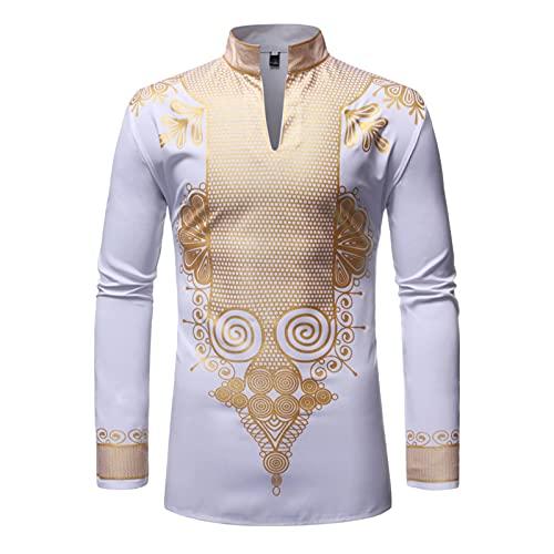 Xinvivion Hombres Africana Dashiki Bronzing Camisa, Camisas Rich Bazin, Kaftan Thobe de Manga Larga a la Moda, Ropa Etnica Musulmana
